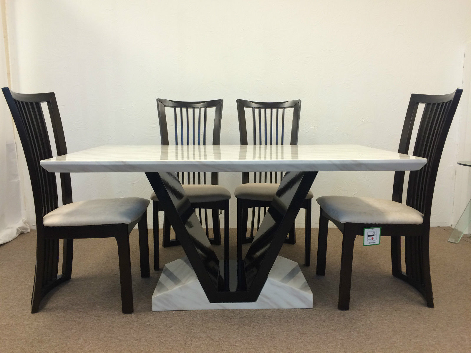 Munich Marble Dining Table + 6x Curve Back Solid Beach Wood Chairs ...